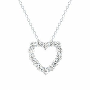 Lab Created White Sapphire Heart Pendant Necklace